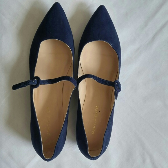 Womens Navy Blue Suede Flats